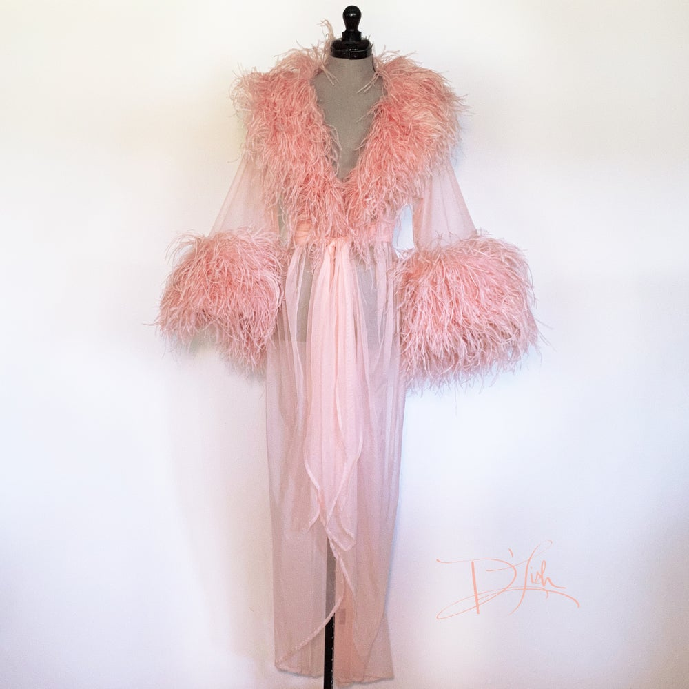 Image of Peachy Ostrich Boudoir Gown