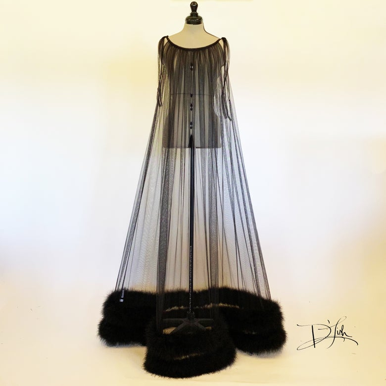 Image of Black Marabou Sheer Nightie