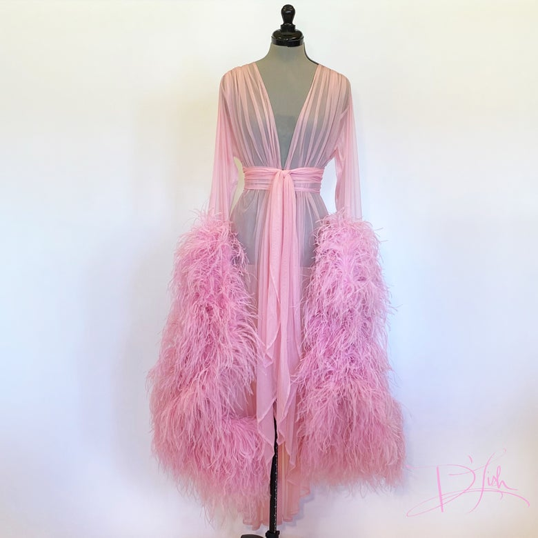 "Image of Rose Ostrich ""Cassie"" Dressing Gown"
