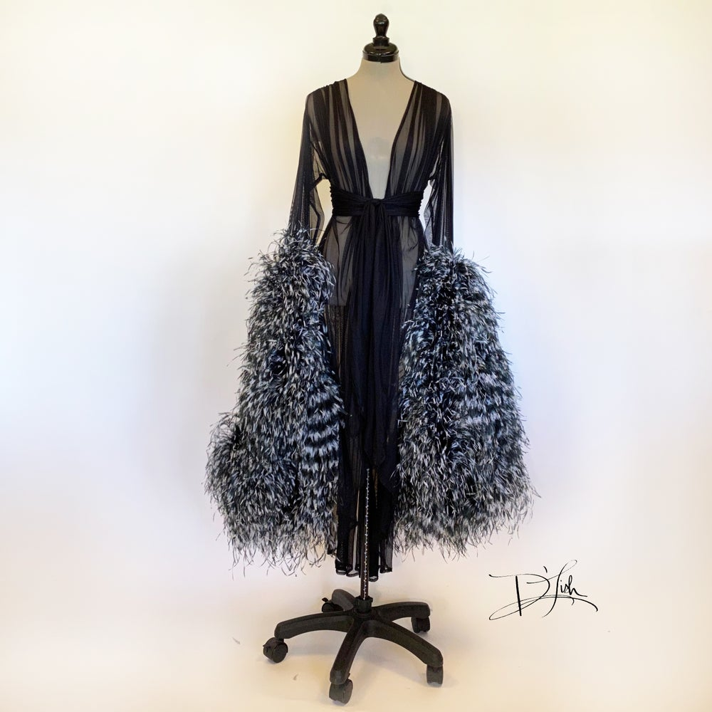 "Image of Black/White Ostrich ""Cassie"" Sheer Dressing Gown"
