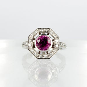 Image of PJ4893 Art Deco diamond design ring set with a natural pink Sapphire