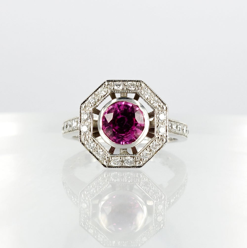 Image of Art Deco diamond design ring set with a natural pink Sapphire
