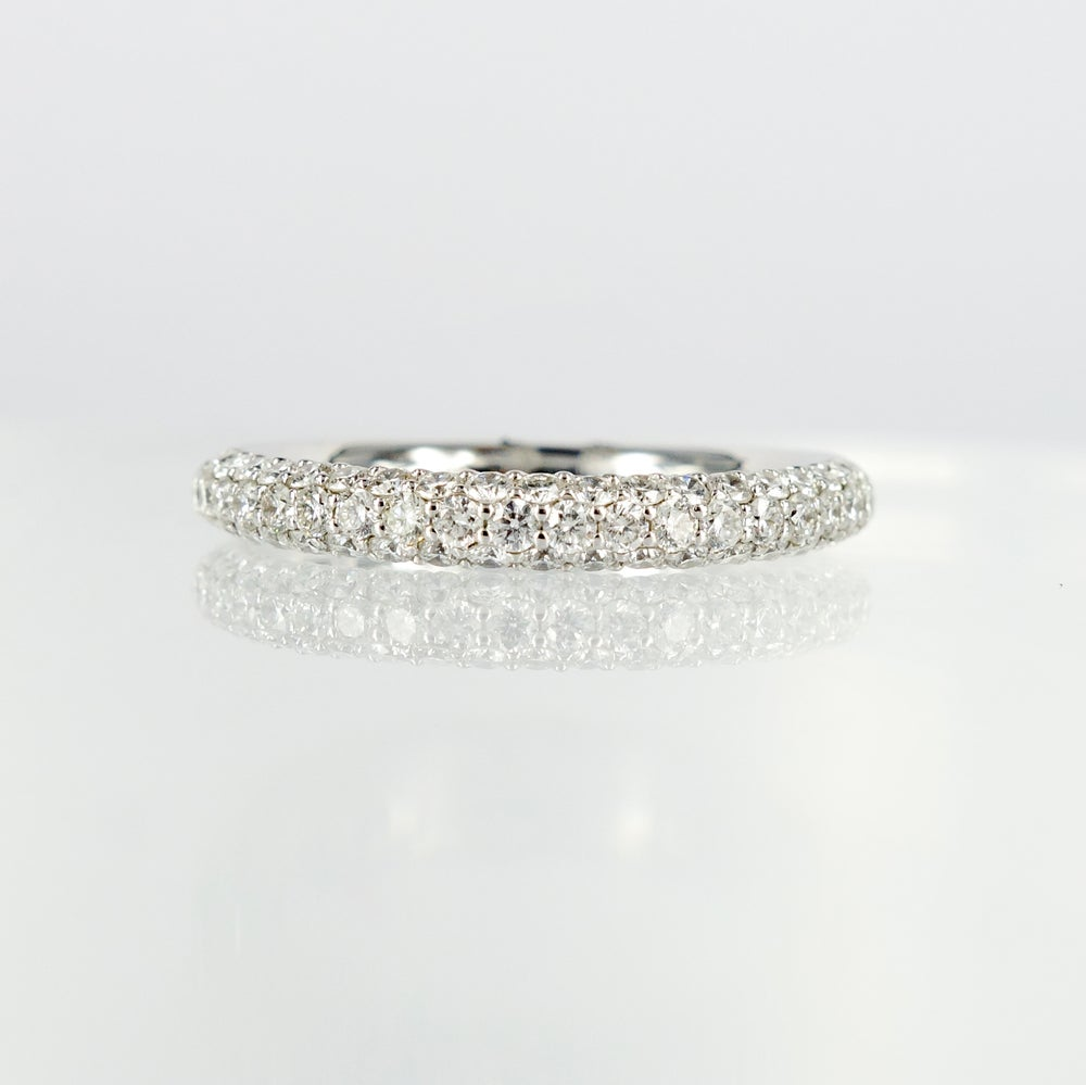 Image of White gold diamond pave ring