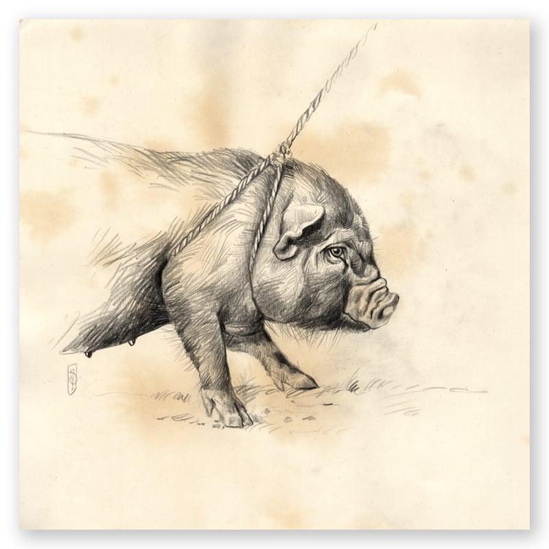 """Image of Original Painting - """"Petit cochon noir au marché de Laomeng"""" - 29x29 cm"""