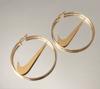 4-Inch Medium Nike Hoop Earrings Gold Swoosh Check (Pre-Order)