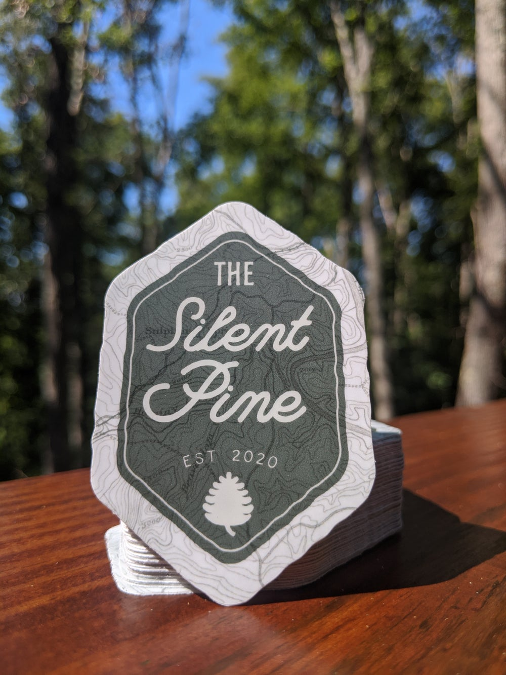 The Silent Pine Camping Badge Sticker