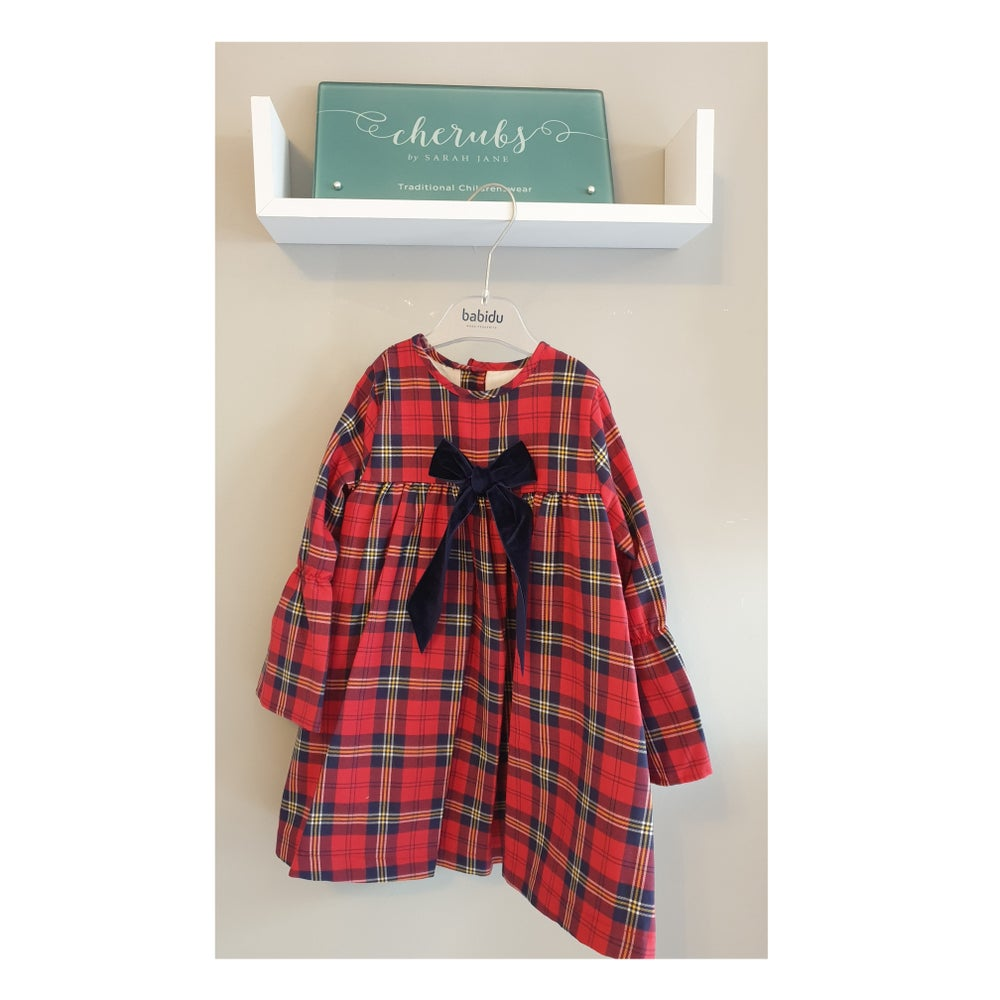 Image of Babidu Tartan Dress with velvet bow