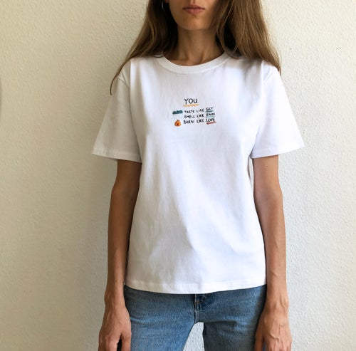 Image of YOU - hand embroidery on 100% organic cotton, available in ALL sizes