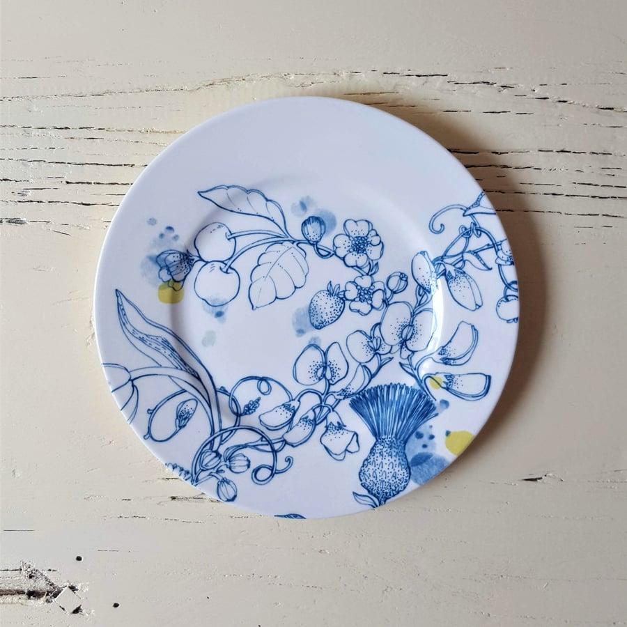 "Image of Blue Summer Dessert Plate ""B"""