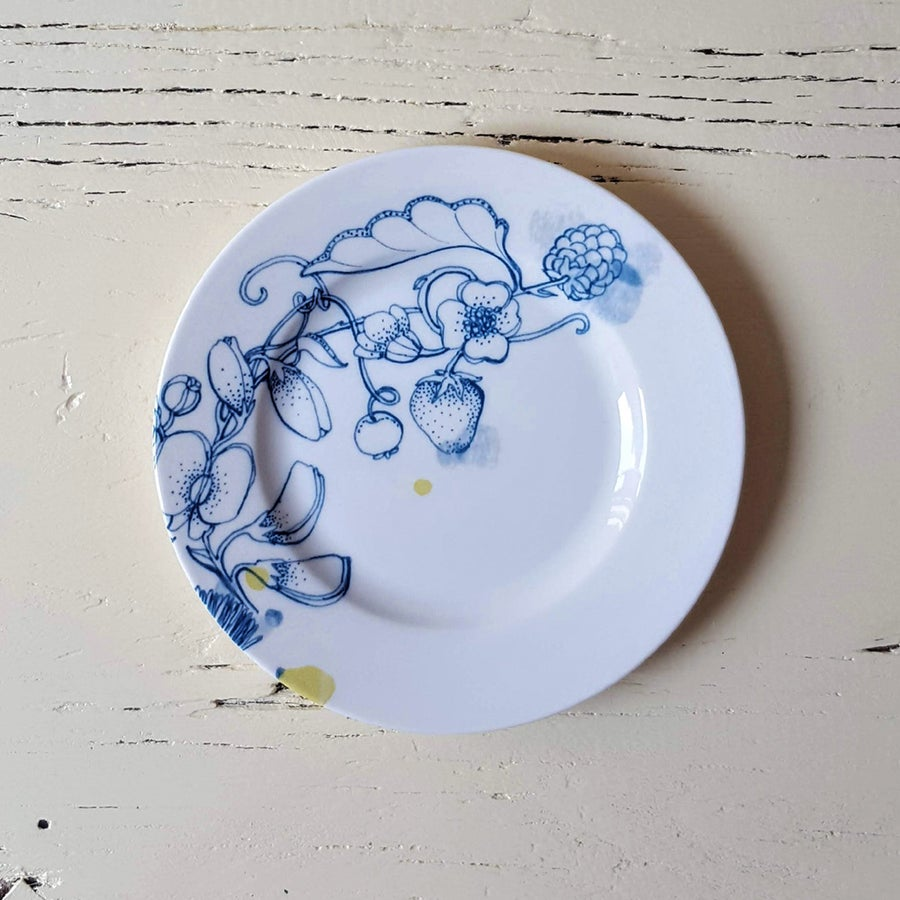 """Image of Blue Summer Bread Plate """"B"""""""
