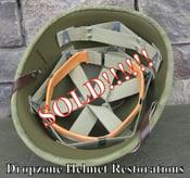 Image of WWII Repro Hawley M1 Helmet Liner. HBT Webbing & sweatband. (A)
