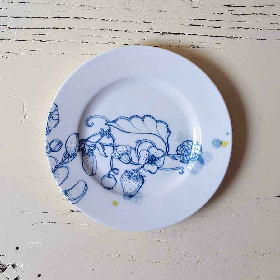 """Image of Blue Summer Bread Plate """"A"""""""
