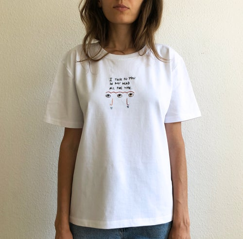 Image of I talk to you - hand embroidered original illustration on 100% organic cotton, in ALL sizes