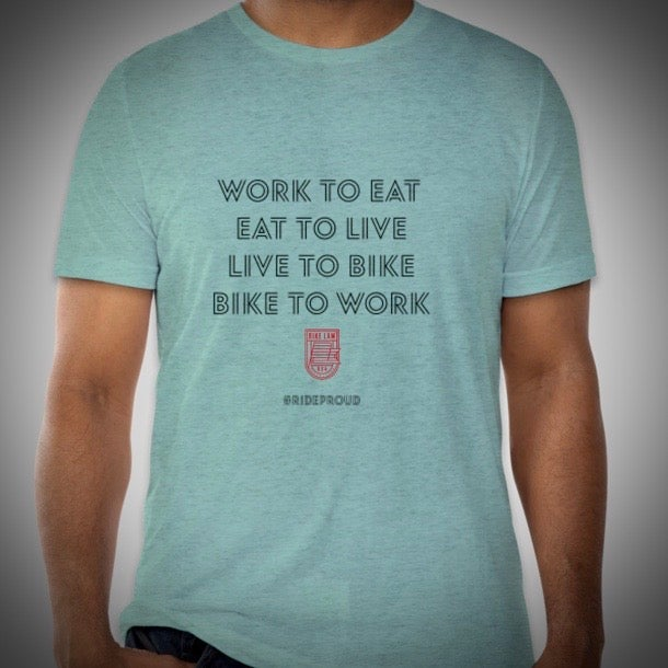 Image of Bike Cycle / Bike to Work T-Shirt - Celeste