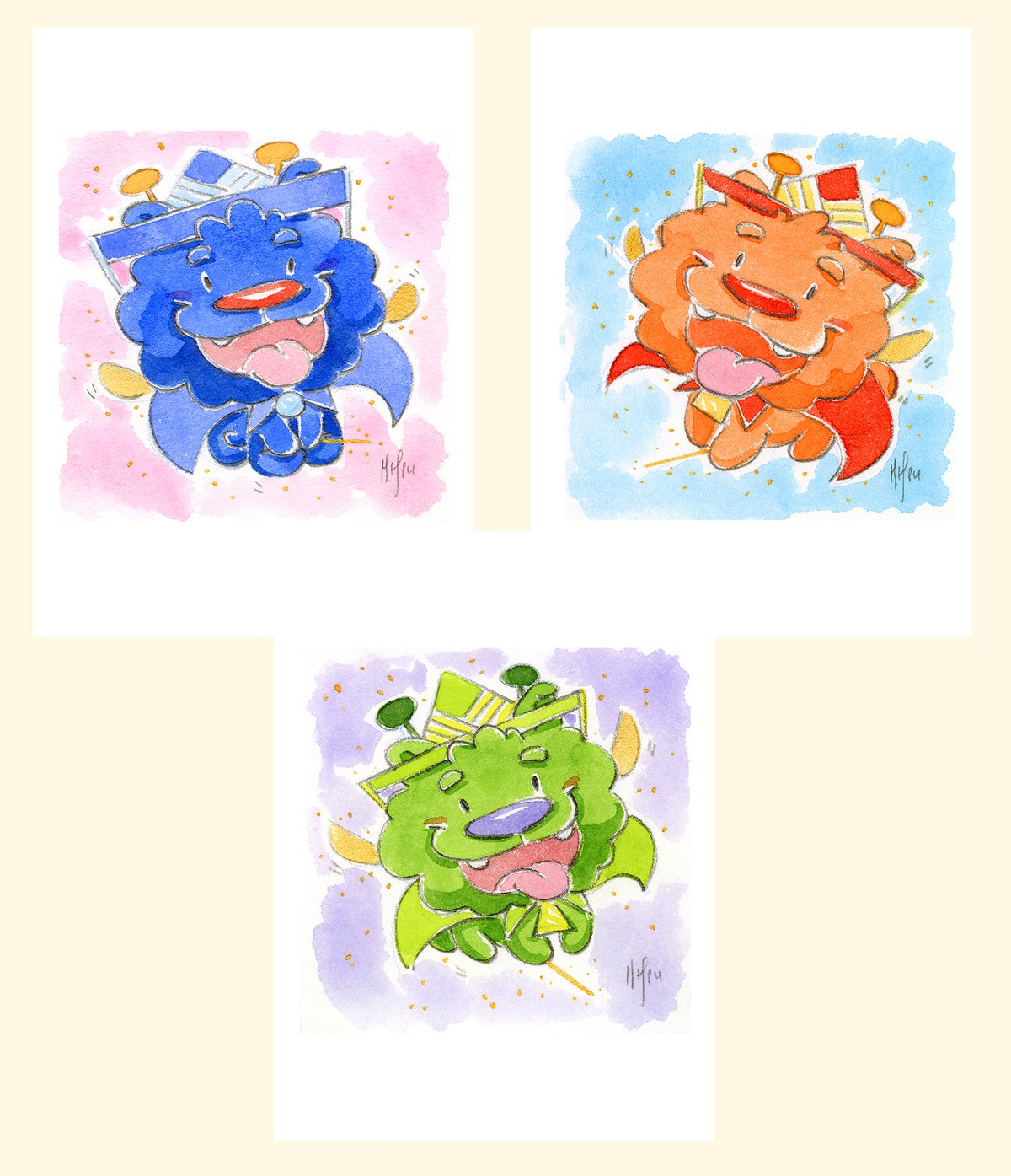 "Fairy Guardian Pups 3-pack 5 x 7"" prints / AIR Exclusive"