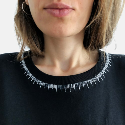 Image of Neck ruler - hand embroidered original illustration on 100% organic cotton, in ALL sizes