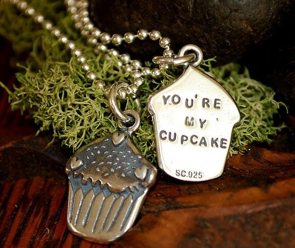 "Image of 3D Cupcake Sterling charm, that says ""You're my Cupcake"" on the back!"