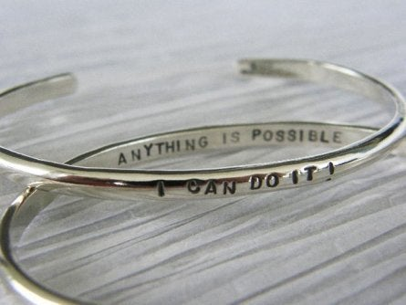 "Image of ""I Can do it ~ Anything is Possible"" Sterling Bracelet"