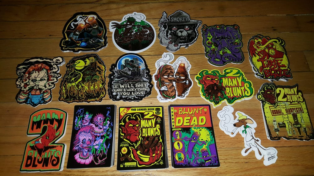 Image of 2 MANY BLUNTS STICKERS