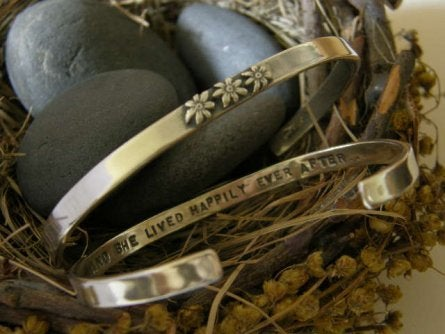"Image of ""And She Lived Happily Ever After"" Sterling Bracelet"