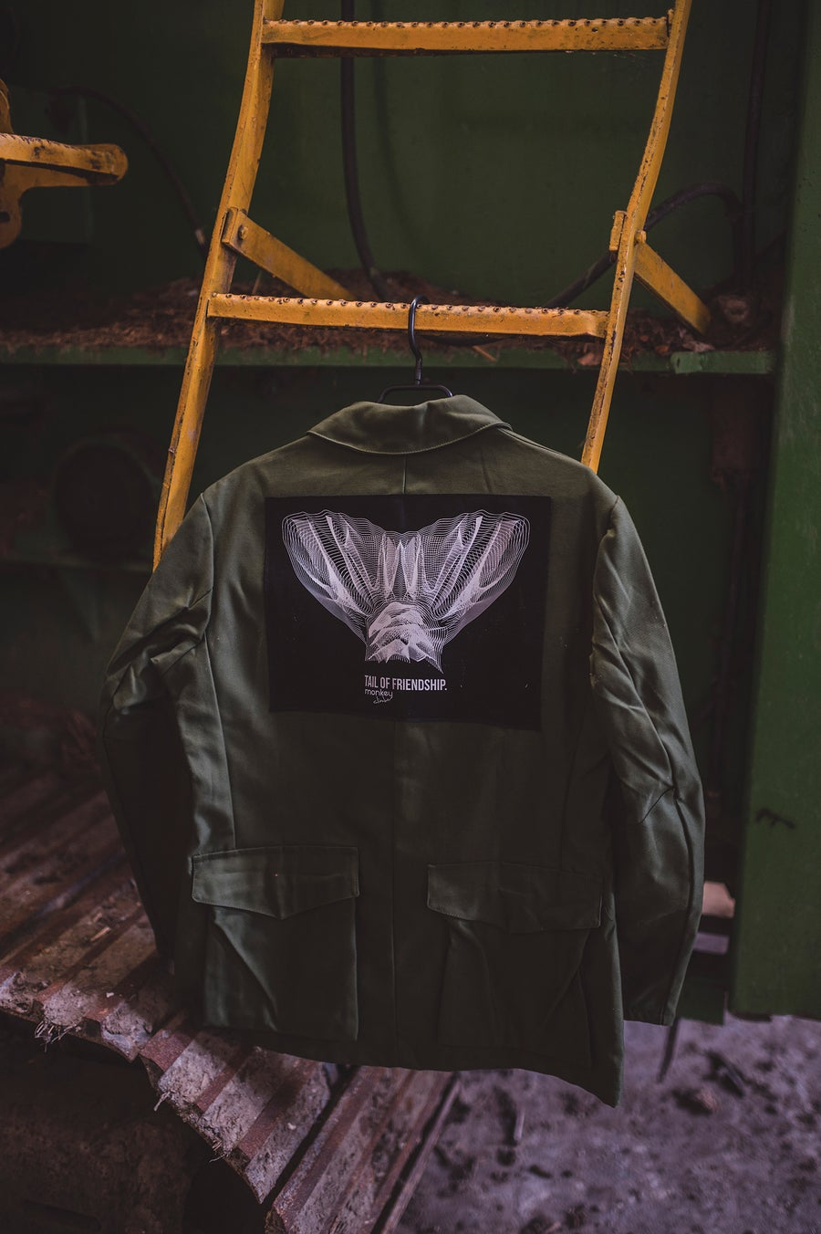 Image of Monkey Climber x Vintage Swedisch Army Jacket I Tail Of Friendship M/L (only 1 made)