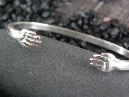 "Image of ""A True Friend should be held with Both Hands"" Sterling Bracelet"