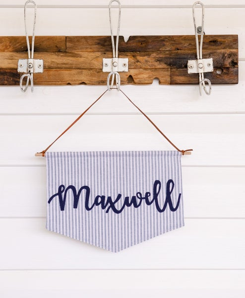 Image of Stripe Name Banner - with olive green or navy blue script