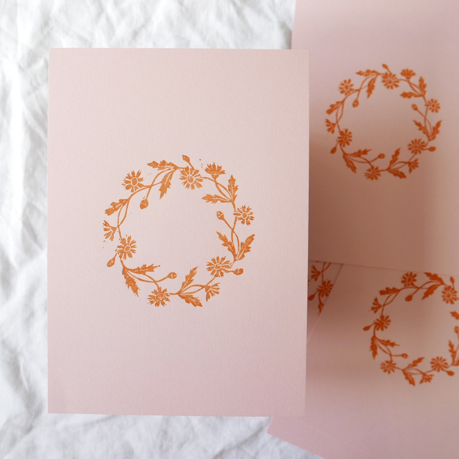 Image of Daisy Chain Linocut Print on Pink - Edition of 8