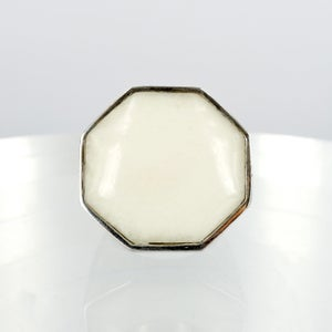 Image of Sterling silver and White agate cocktail ring