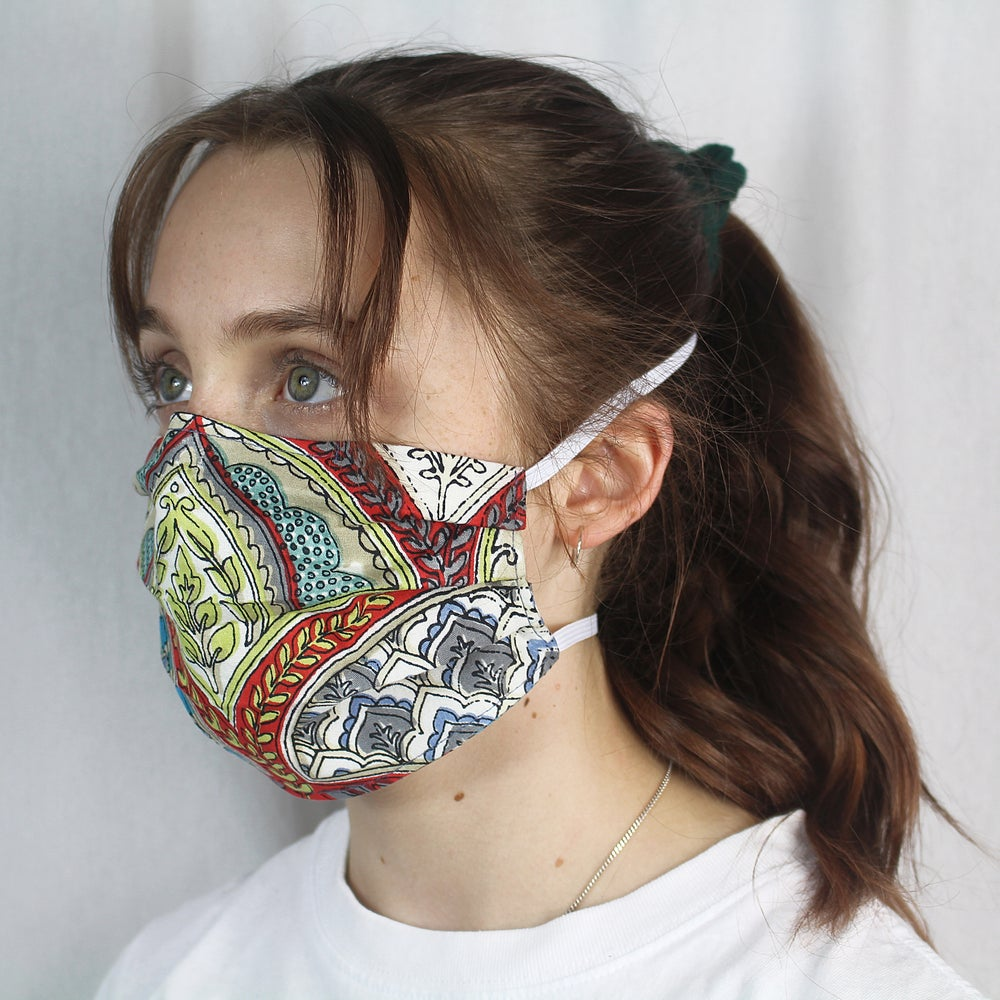 Image of Adult Mask - Floral Bubbles