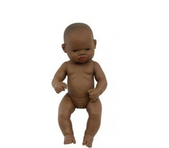 Image of Miniland Doll - Baby, African Girl, 32cm, undressed