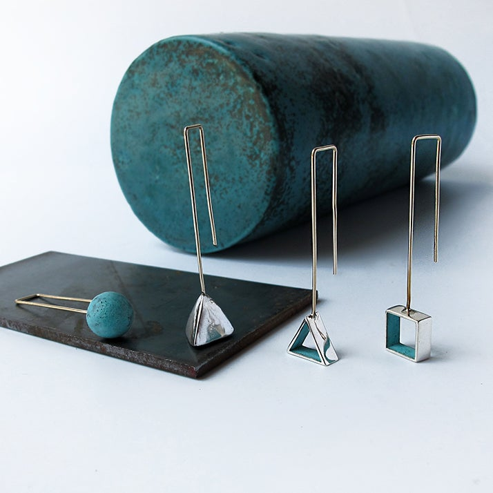Image of Silver / Copper / Blue Patina / Small Shapes