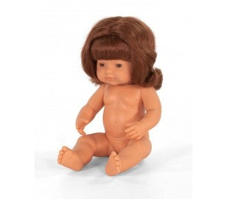Image of Miniland Doll - Red Haired, Caucasian Girl, 38cm, undressed