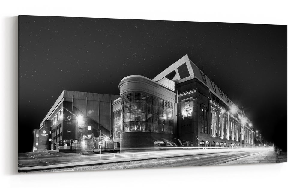 Image of Ibrox at Night - Black & White