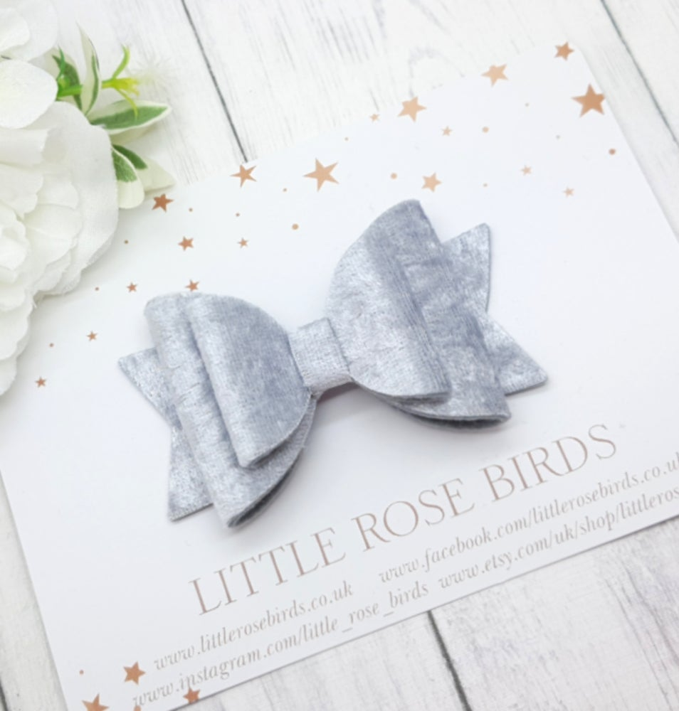 Image of Silver Grey Velvet Bow - Choice of Headband or Clip