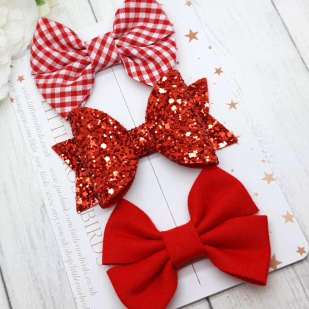 Image of Red School Bows - Choice of Headband or Clip