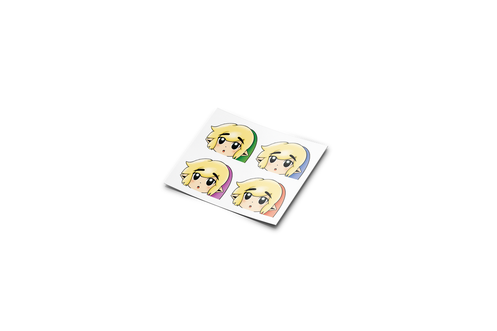 Image of Mini Toon Links (4 colors) Sticker Sheet