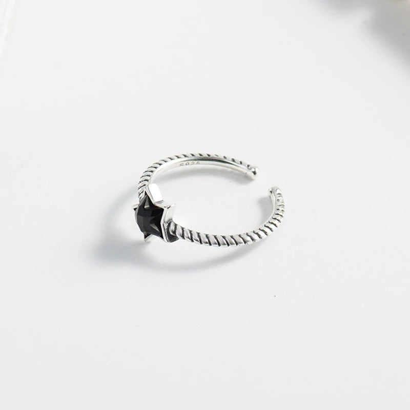 Silver BlackStar Open Ring (925 Sterling Silver)