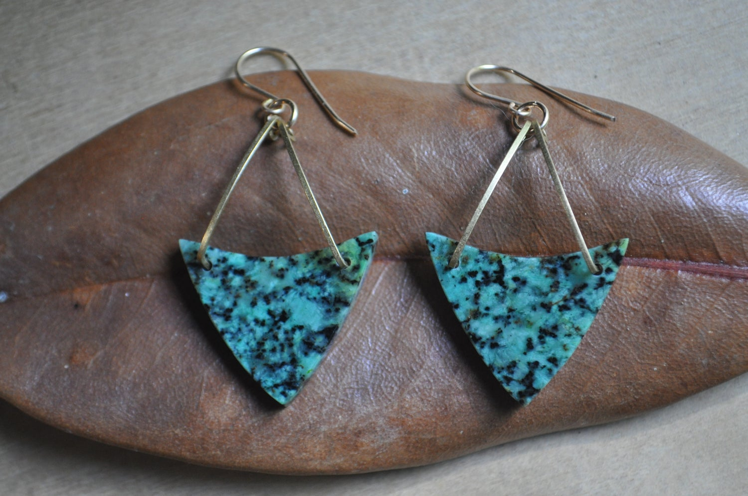 Image of One of a Kind African Turquoise Triangle Dangles
