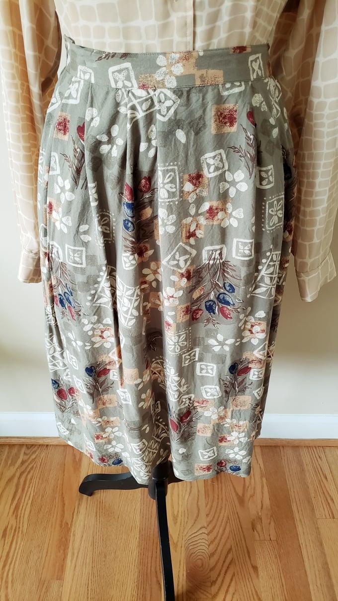 Image of Olive Green Print Skirt