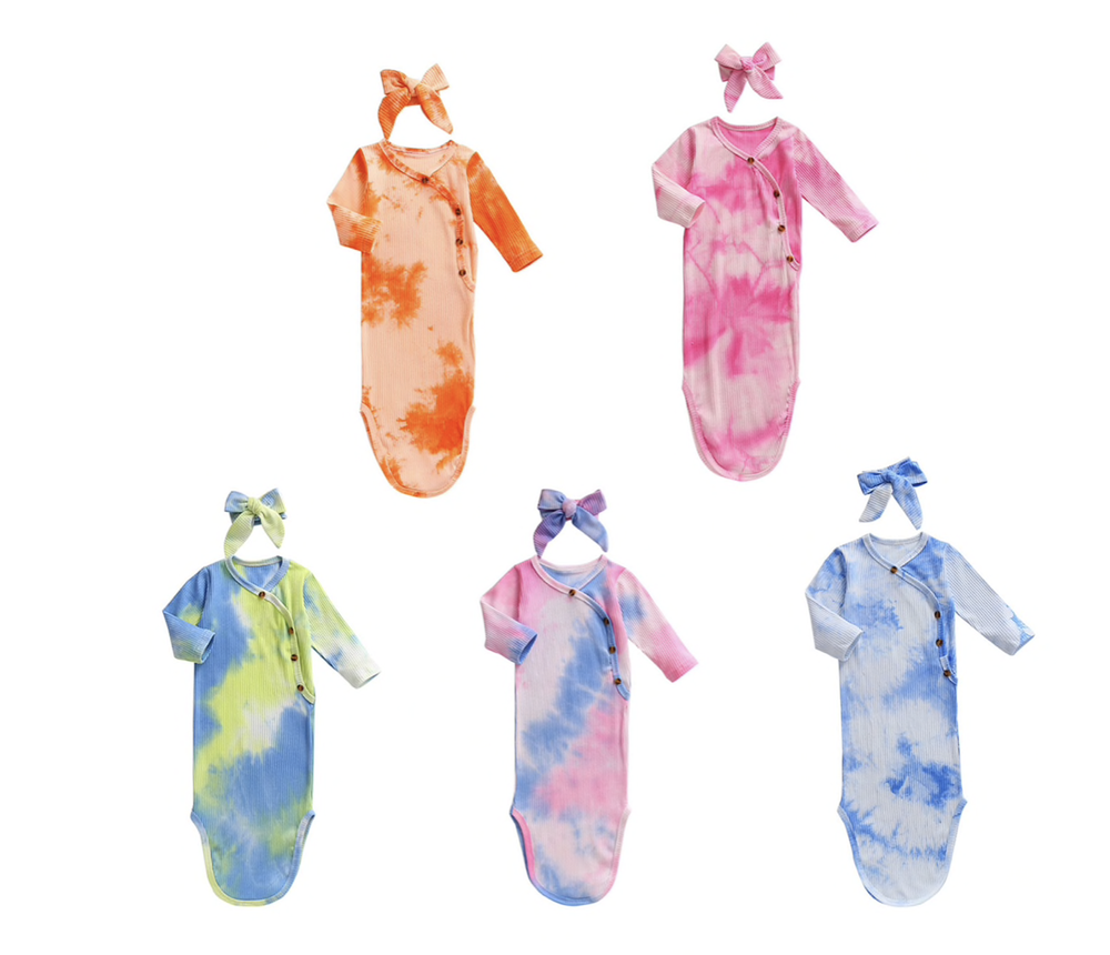 Tie Dye Knotted Gown + Headband