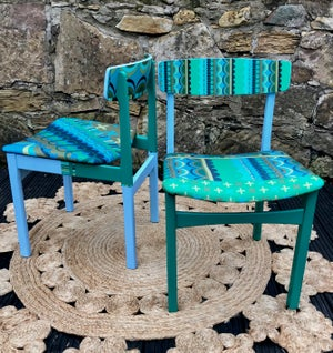 Image of Disc'0' Green/Blue * 1960's G Plan side chair