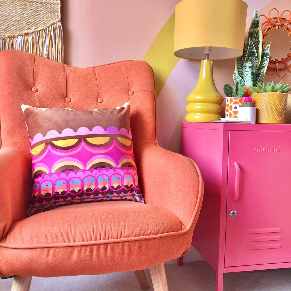 Image of Disc'O' Pink Velvet Cushion
