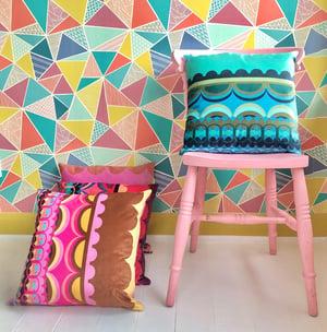 Image of Disc'O' Pink Velvet Cushion