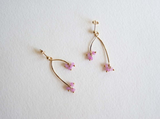 Image of Branch pink ruby earrings