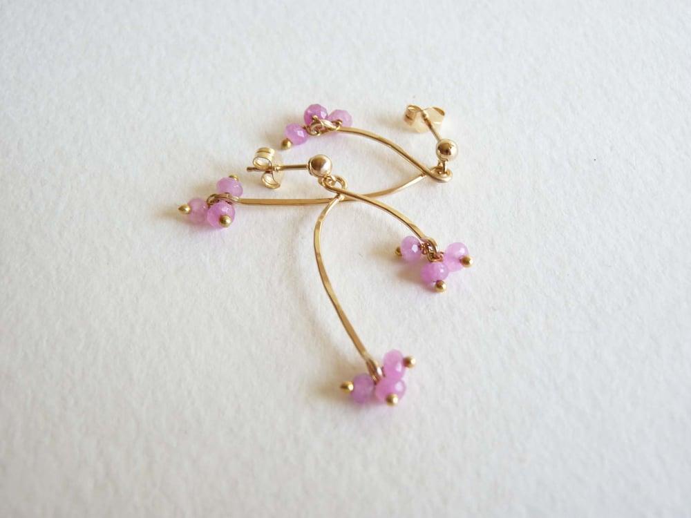 Image of Branch pink ruby earrings