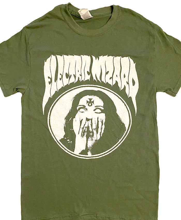 "Image of Electric Wizard "" Inverted Ankh Girl"" Green T-shirt"