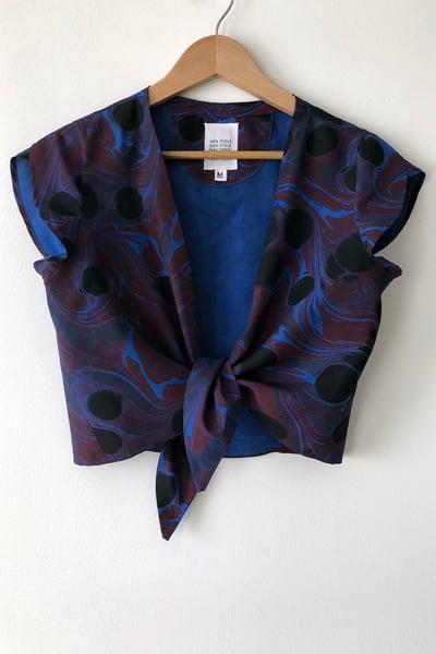Image of Tulip Tie Blouse - Ultramarine Marble