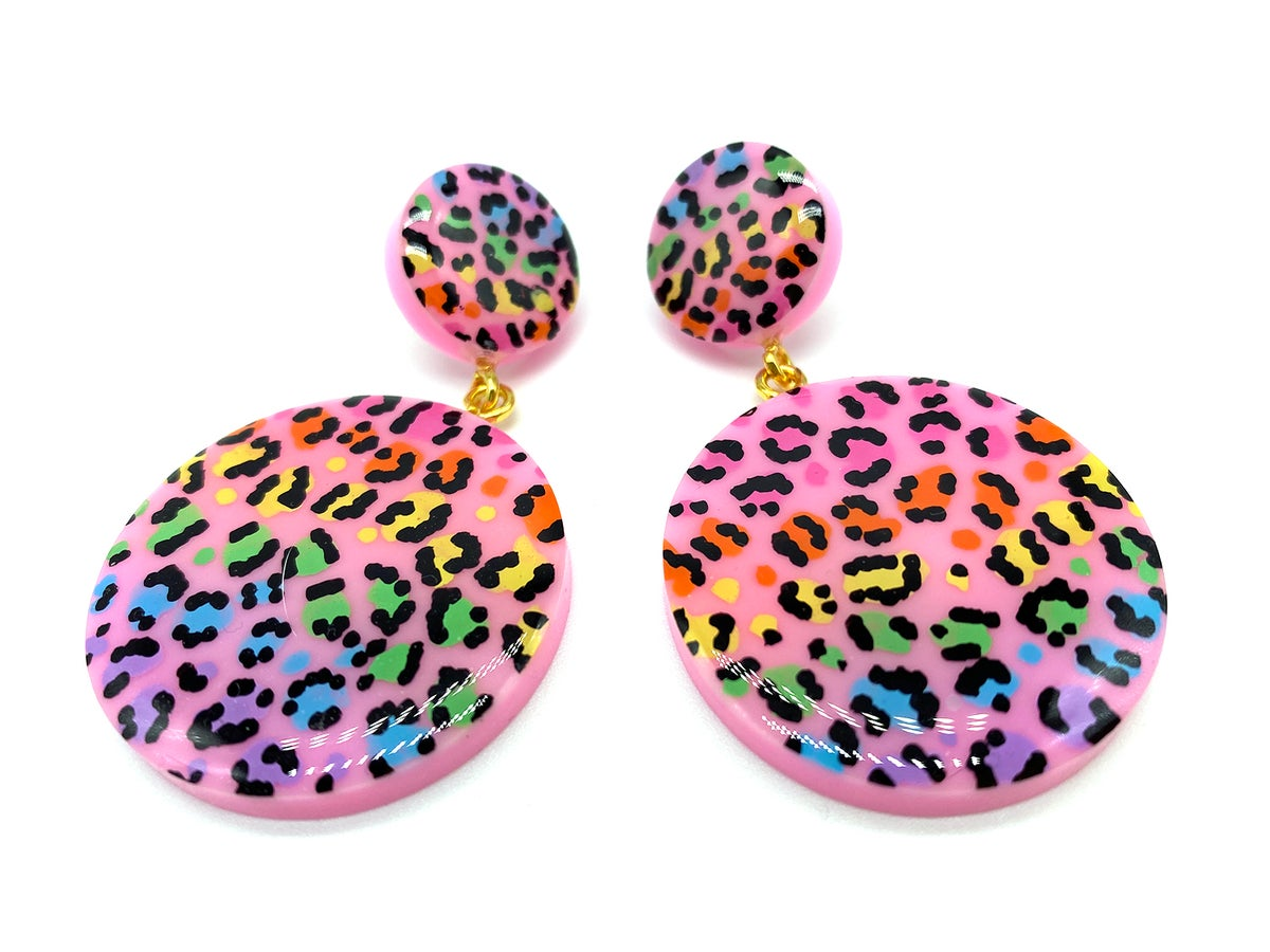 Image of Rainbow Leopard Print Statement earrings