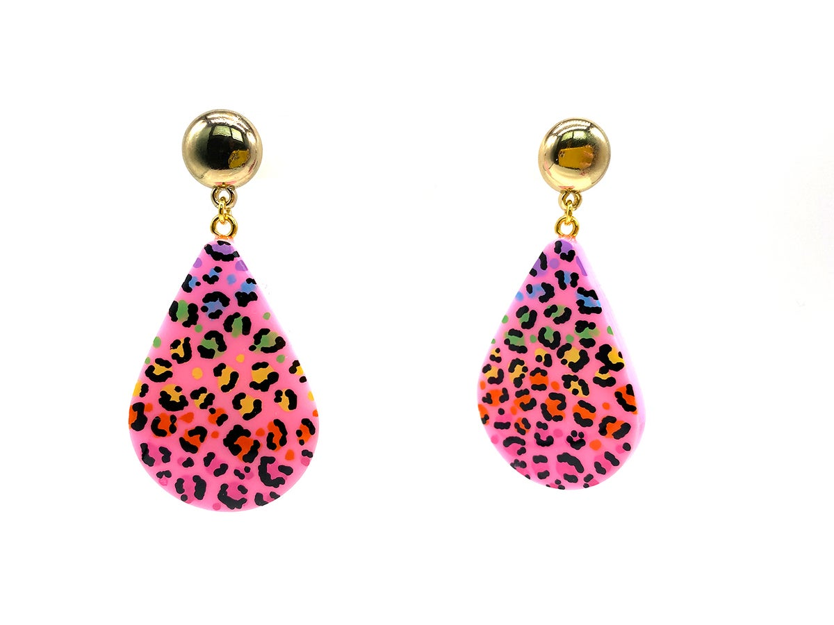 Image of Rainbow Leopard Drop Statement Earrings